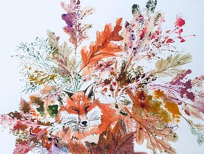 Painting - Red Fox Autumn Leaves  by Ellen Levinson