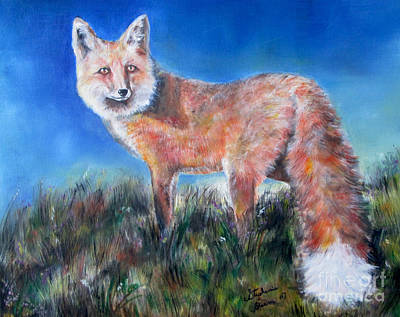 Photograph - Red Fox, Blue Sky by Stephanie  Skeem