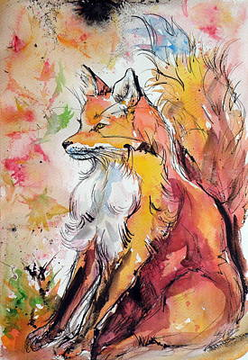 Red Fox Painting - Red Fox In Autumn by Kovacs Anna Brigitta