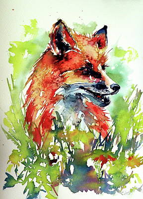 Painting - Red Fox Relax by Kovacs Anna Brigitta