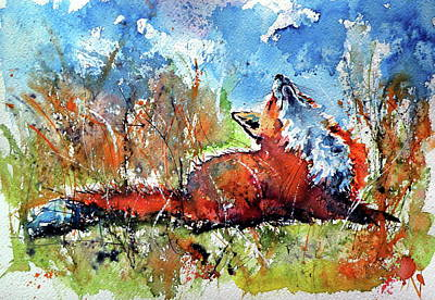 Painting - Red Fox Resting II by Kovacs Anna Brigitta