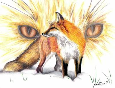 Red Foxes Drawing - Red Fox by Scarlett Royal