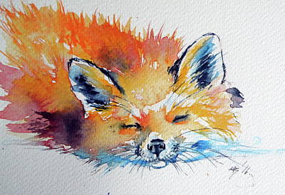 Red Fox Painting - Red Fox Sleeping by Kovacs Anna Brigitta
