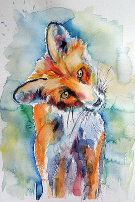 Red Fox Painting - Red Fox Watching by Kovacs Anna Brigitta
