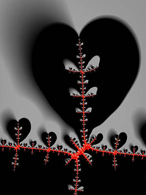 Heart Artwork Digital Art - Red Fractal Black Hearts by Matthias Hauser