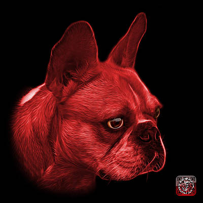 Painting - Red French Bulldog Pop Art - 0755 Bb by James Ahn