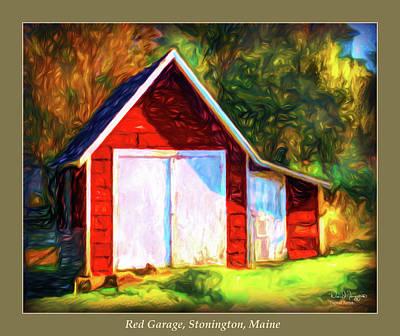 Digital Art - Red Garage, Stonington, Maine by Dave Higgins