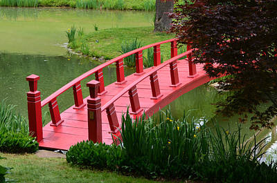 Photograph - Red Garden Bridge by Kathleen Stephens