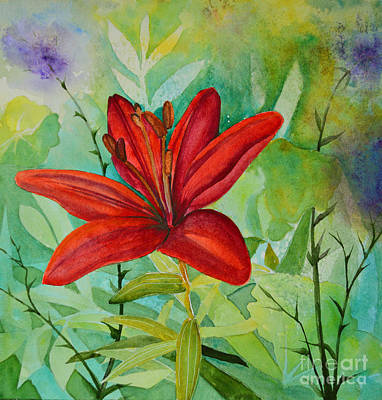 Red Garden Lily Art Print by Terri Robertson