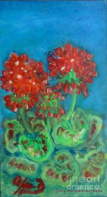 Red Geranium Art Print by Anna Folkartanna Maciejewska-Dyba