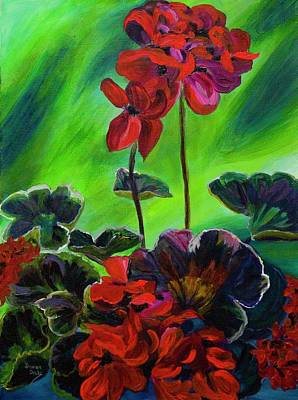 Painting - Red Geranium by Donna Drake