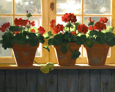 Red Geranium Painting - Red Geraniums Basking by Linda Jacobus