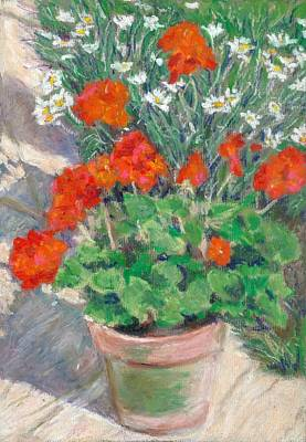 Pastel - Red Geraniums by Judy Adamson