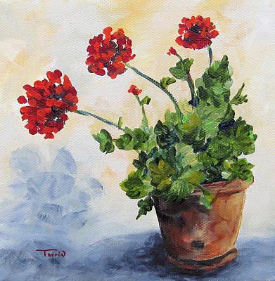 Red Geraniums Art Print by Torrie Smiley