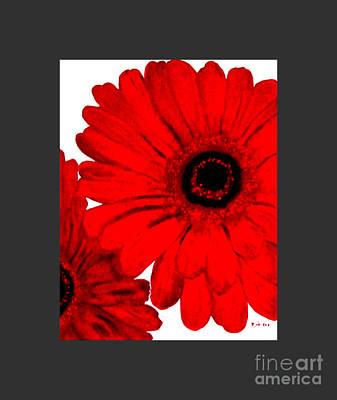 Gerber Daisy Painting - Red Gerber Border     Digital Art  by Marsha Heiken
