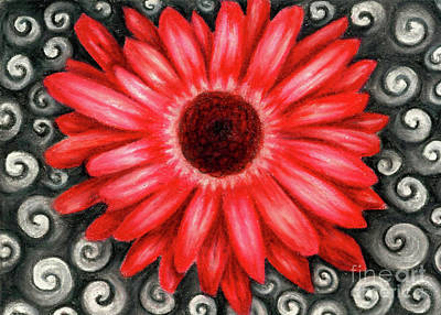 Red Gerbera Daisy Drawing Art Print