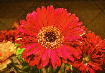 Photograph - Red Gerbera Daisy Macro by Sandi OReilly