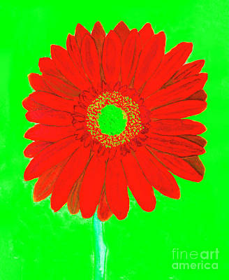 Painting - Red Gerbera On Green, Watercolor by Irina Afonskaya