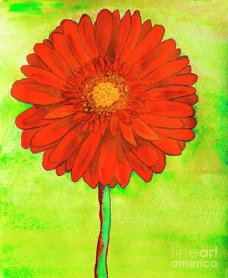 Painting - Red Gerbera On Yellow by Irina Afonskaya