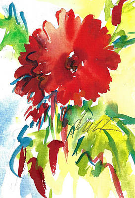Gerberas Red, White, And Blue Art Print