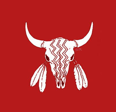 Bison Drawing - Red Ghost Dance Buffalo by Steamy Raimon