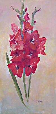 Gladiolas Painting - Red Gladiola by Jimmie Trotter