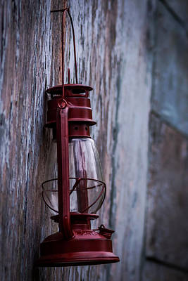 Illuminated Wall Decorations Photograph - Red Glass Lantern  by Terry DeLuco