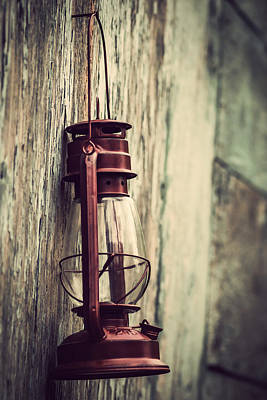 Illuminated Wall Decorations Photograph - Red Glass Lantern Vintage by Terry DeLuco