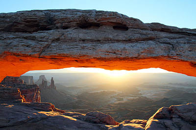 Red Glow At Mesa Arch In Canyonlands Np Art Print by Pierre Leclerc Photography