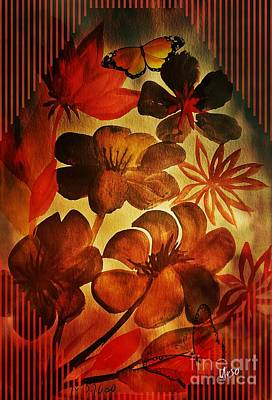 Mixed Media -  Red Glow Floral by Maria Urso