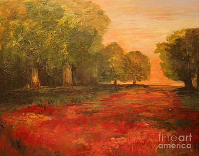 Painting - Red Glow In The Meadow by Julie Lueders