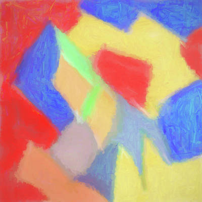 Digital Art - Red Gold Blue Abstract by Susan Stone