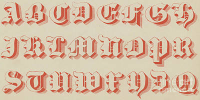 Typographic Drawing - Red Gothic Font by English School