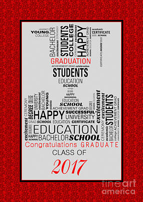 Digital Art - Red Graduate Collage 2017 by JH Designs