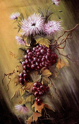 Red Grapes And Flowers Art Print