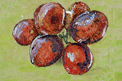 Painting - Red Grapes On Green Background by Zilpa Van der Gragt