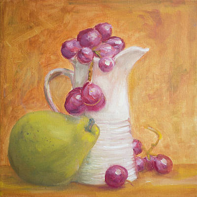 Painting - Red Grapes White Milk Green Pear by Kara Evelyn-McNeil