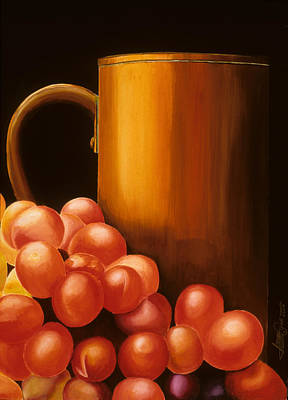 Painting - Red Grapes With Brass Cup by JoeRay Kelley