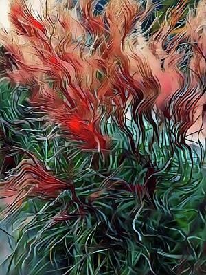 Mixed Media - Red Grasses by Susanne Baumann
