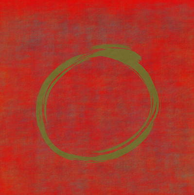 Digital Art - Red Green Enso by Julie Niemela