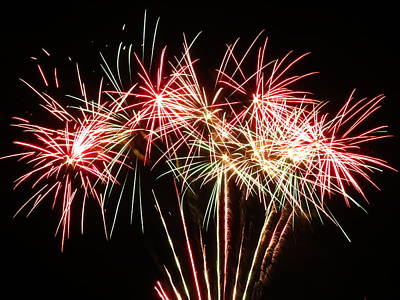 Photograph - Red Green Firework Display by Kyle J West