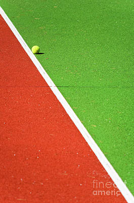 Red Green White Line And Tennis Ball Art Print by Silvia Ganora
