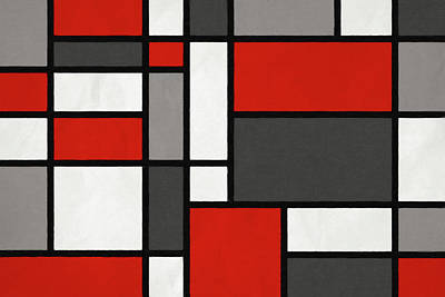 Abstract Digital Art - Red Grey Black Mondrian Inspired by Michael Tompsett
