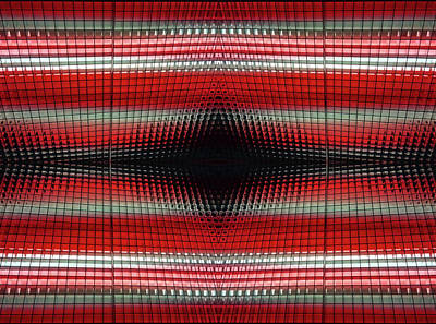Photograph - Red Grid Abstract by Mary Bedy