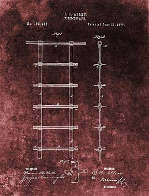 Drawing - Red Grunge Fire Escape Patent by Dan Sproul