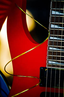 Red Guitar Art Print by Hakon Soreide