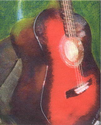 Pastel - Red Guitar by John Brisson
