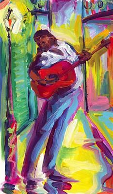 Red Guitar Art Print by Saundra Bolen Samuel