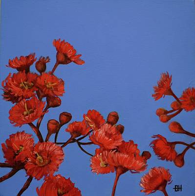 Painting - Red Gum Blossoms by Chris Hobel