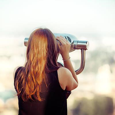 Photograph - Red Hair Girl Watching The Pano by Alfio Finocchiaro